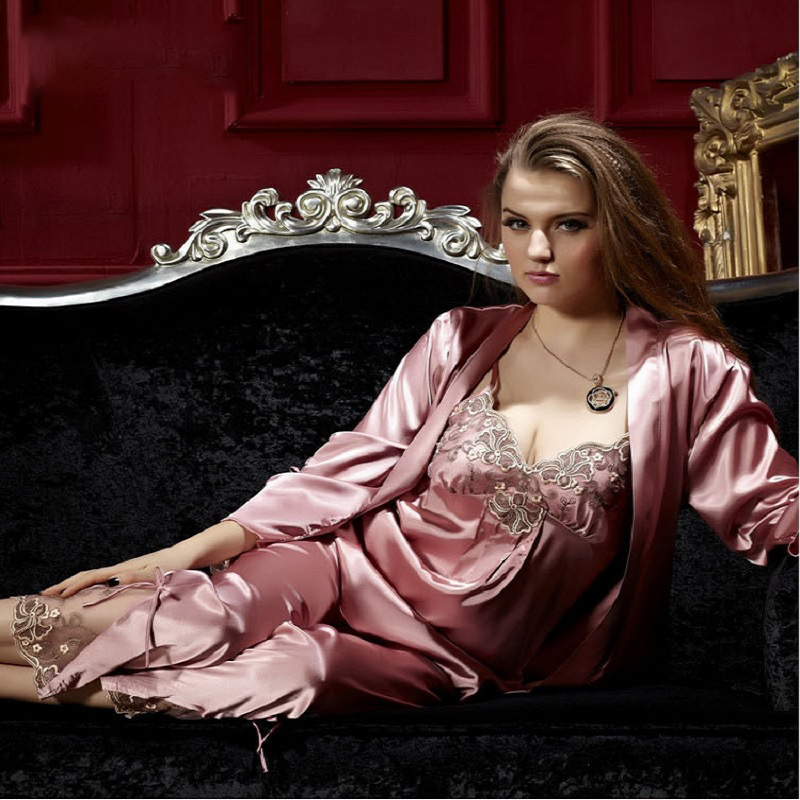 Satin Home Wear Lace 3-Pieces   Pajamas     Sets   Women Autumn Sexy Sleep Wear Pink One Size