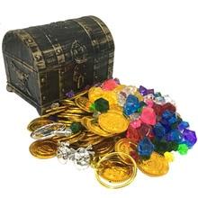 Пластиковые Золотые сокровища в виде монет капитан пират вечерние пират, сундук с сокровищами детский сундук сокровища сундук сокровищница Золотая монета игрушка