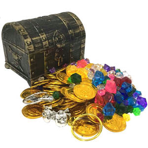Coin-Toy Treasure-Coins Pirate Gold Plastic Child Chest Captain Party