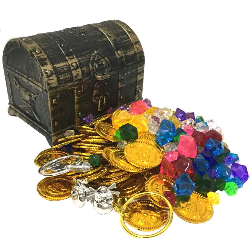 Plastic Gold Treasure Coins Captain Pirate Party Pirate Treasure Chest Child Treasure Chest Treasure Chest Gold Coin Toy
