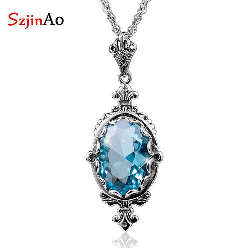 Szjinao Classic Oval Aquamarine Vintage 925 Sterling Silver Pendant For Women Christmas present  Fine viking Jewelry