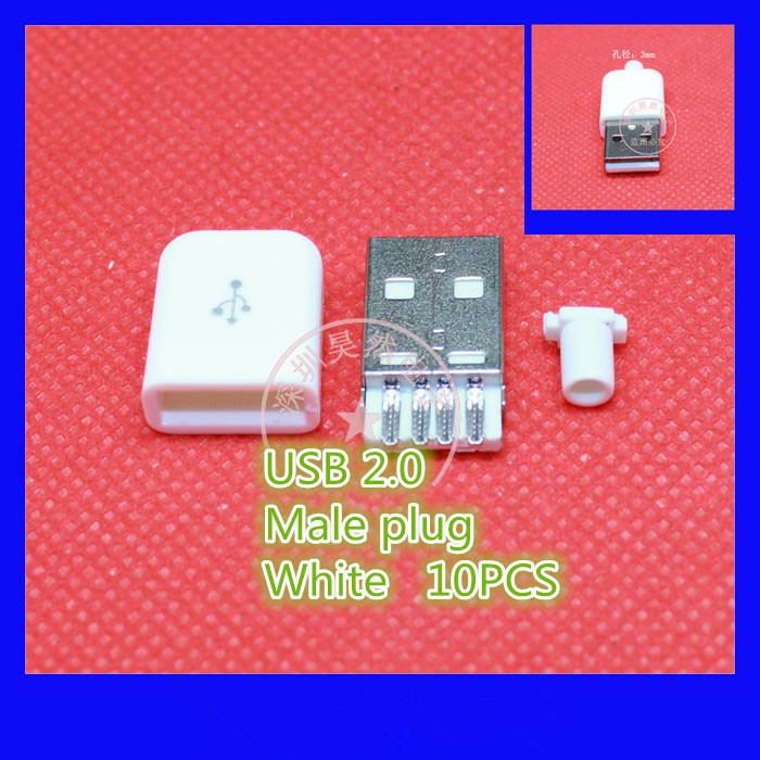 10PCS/LOT YT2154B USB 2.0 Male connector plug  Black/White welding Data OTG line interface DIY data cable accessories Free ship