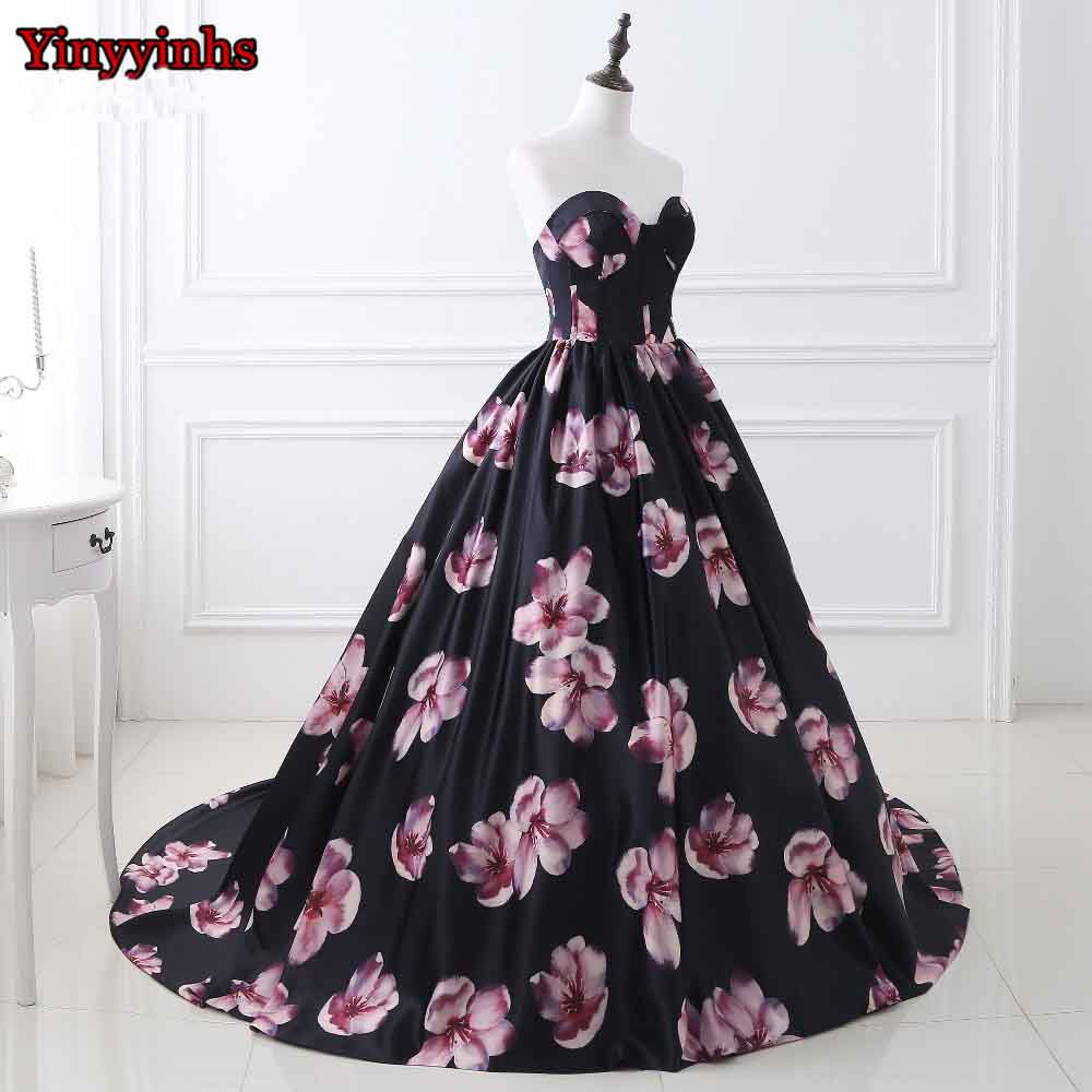 Yinyyinhs New Backless Black Floral Print Evening Dresses Sweetheart ...