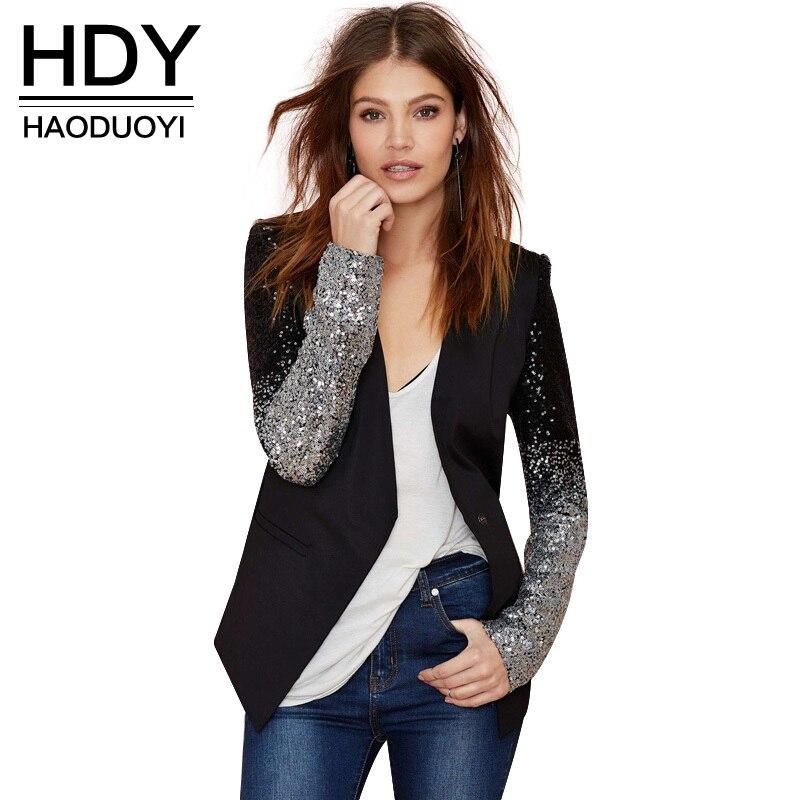 HDY Haoduoyi otoño lentejuelas Patchwork manga chaquetas PU cuero Slim Fit Club Causal chaqueta invierno mujer Outwear Venta caliente