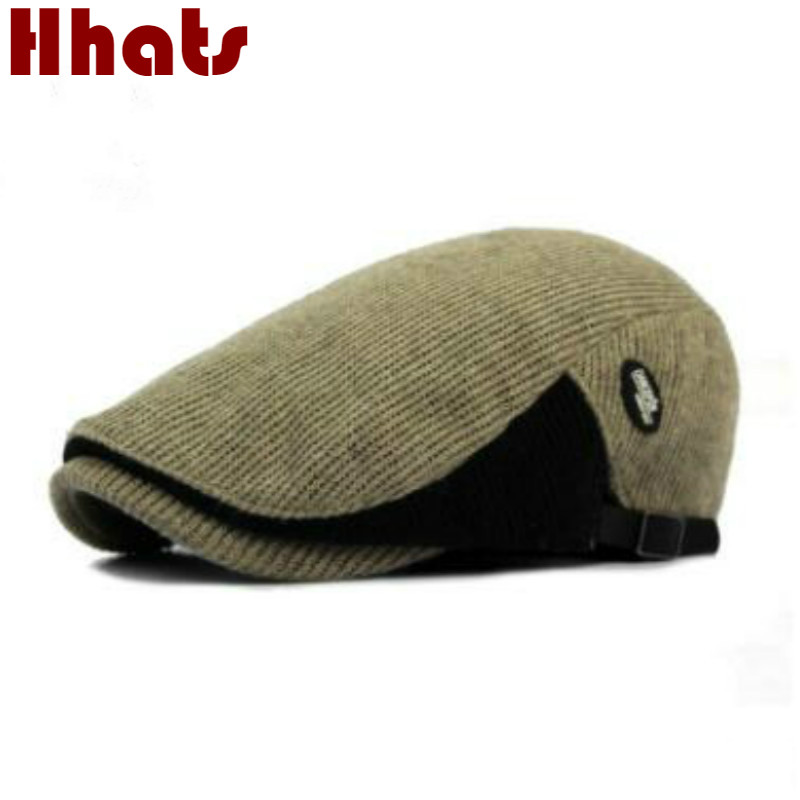 eb01d3622 US $6.32 20% OFF|which in shower patchwork knitted beret hat old men thick  warm winter hat flat duckbill cap spring autumn adjustable peaked bone-in  ...