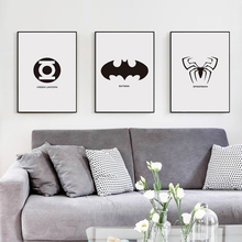Movie Marvel Comics Superhero LOGO Black and White Simple A4 Canvas Painting Art Print Poster Picture Wall Paintings Home Decor