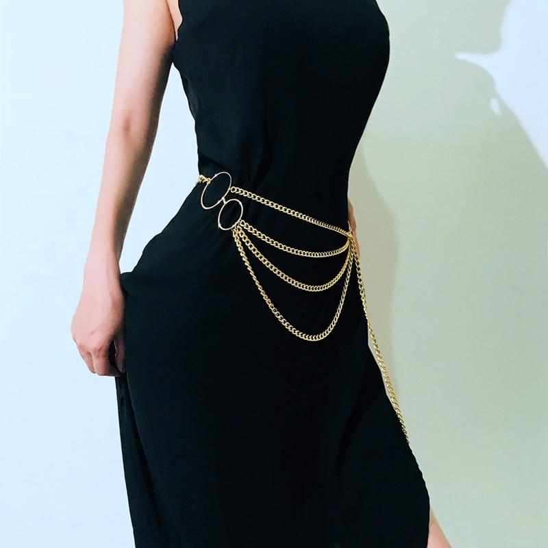 Женский модный пояс, высокая талия, Золотая узкая металлическая цепочка, массивная бахрома