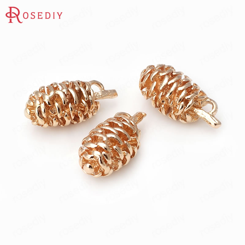 4PCS 10x19MM 24K Champagne Gold Color Plated Brass Pinecone Charms Pendants High Quality Diy Jewelry Accessories