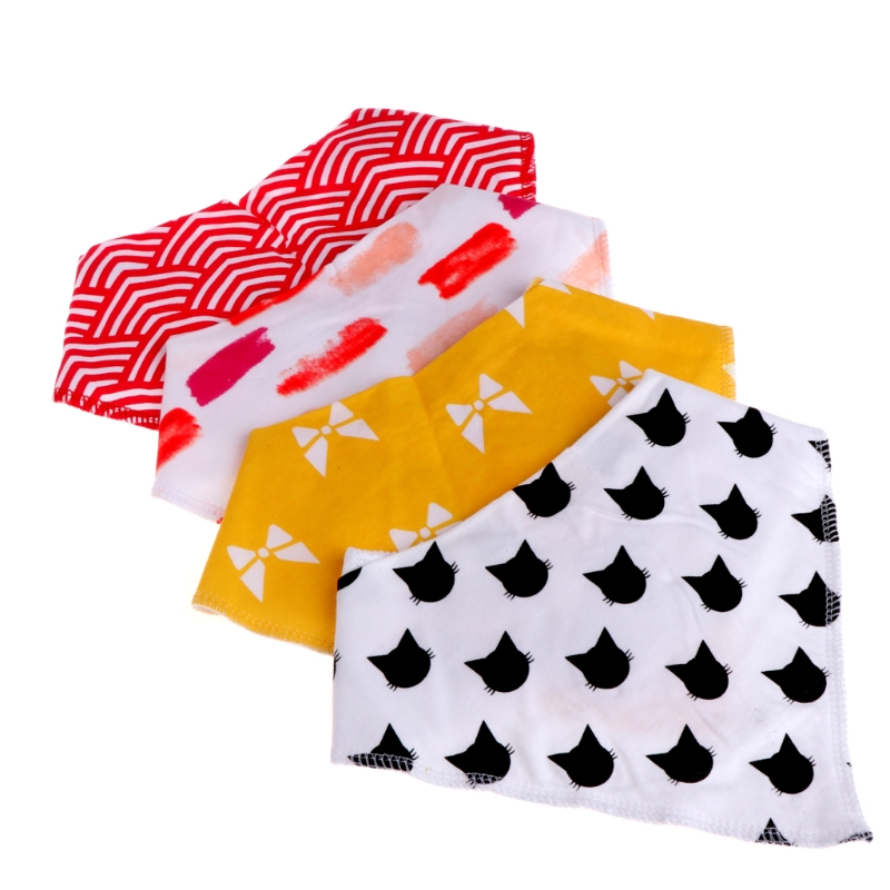 4 PCS Baby Unisex Feeding Bibs Saliva Towel Dribble Triangle Bandana Head Scarf W15
