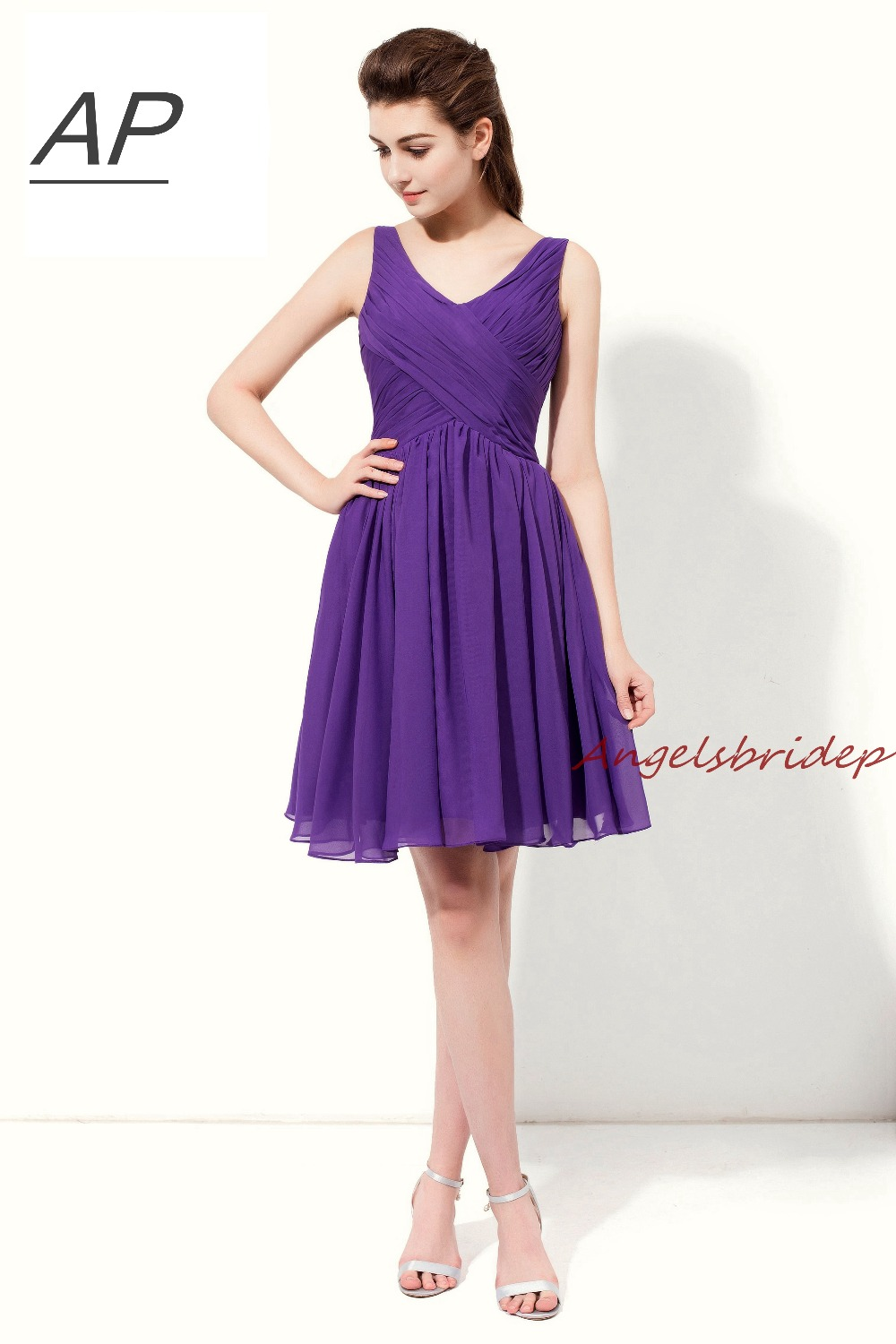 Angelsbridep Chiffon Purple Summer Short Bridesmaid Dresses V-neck Chiffon Robe Demoiselle D'honneur Party Gown Formal Dress Smoothing Circulation And Stopping Pains