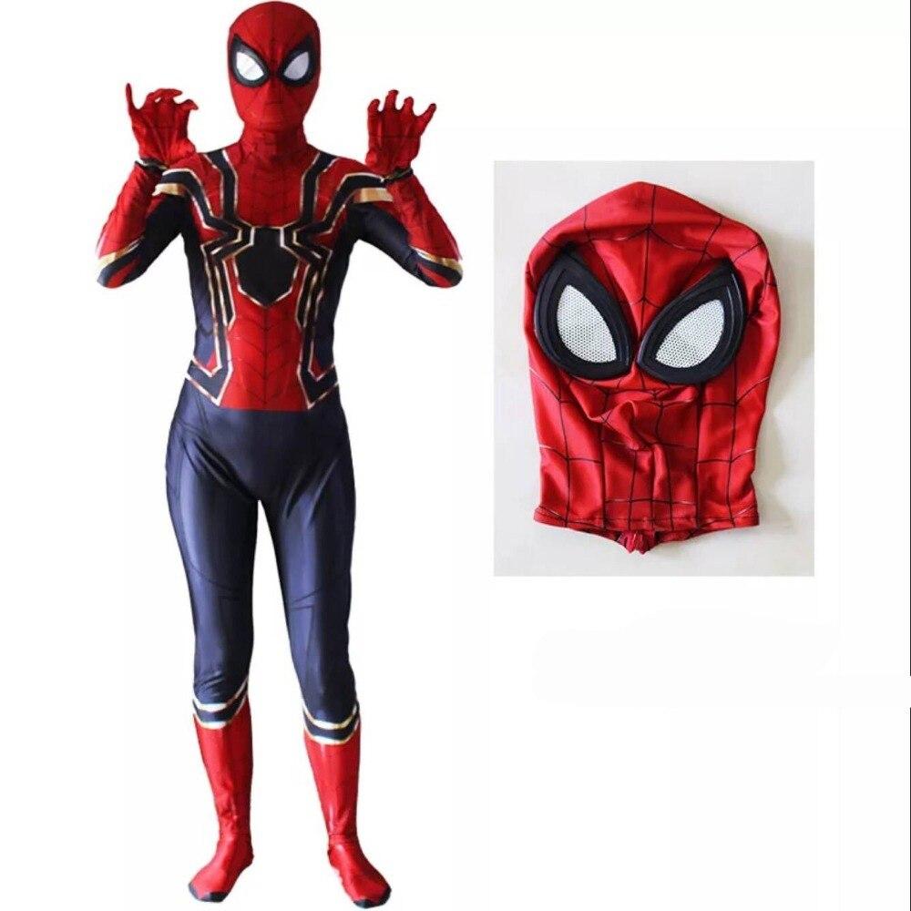 Spiderman Costume 3D Printed Kids Adult Spandex Homecoming Iron Spider Man Costume Bodysuit Men Halloween Cosplay Zentai Suit