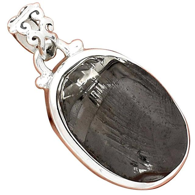 Lovegem Genuine Shungite Pendant 925 Sterling Silver, 32 mm, AP3186