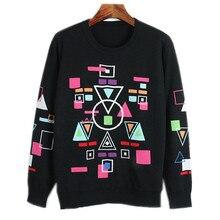 Korea Sweater 2018 Spring Womens Sweater Geometric Lattice Pattern Long Sleeve Loose New College Wind Shorts Runway Sweater