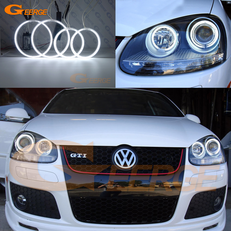 For Volkswagen VW Golf Rabbit Jetta GTI R32 MKV MK5 2005 2006 2007 2008 2009 2010 Ultra bright illumination CCFL angel eyes kit new oem vw jetta golf mk5 gti rabbit front fog lights lamps 1t0941699 1t0941700 2005 2009