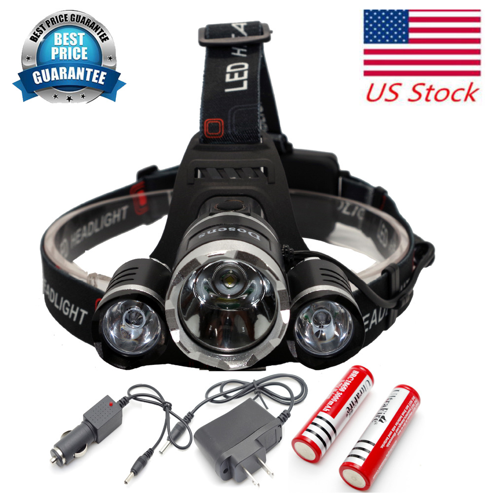 Hunting Camping Hiking 6000lm 3x CREE T6 LED Headlamp Lamp Headlight Headlamp Head Torch Light + Rechargeable 2X18650 Battery