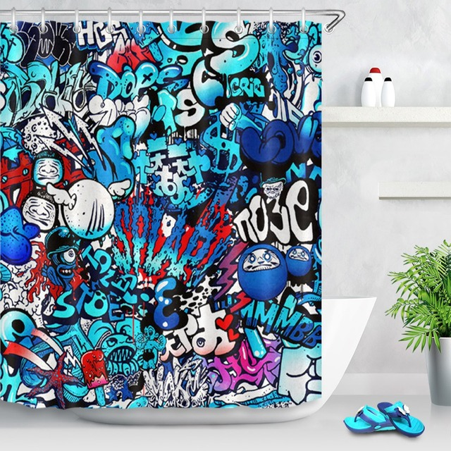 LB Waterproof Luxury Comic Graffiti Funny Shower Curtains Abstract Custom Bathroom Curtain Fabric For Men Kids Bathtub Decor