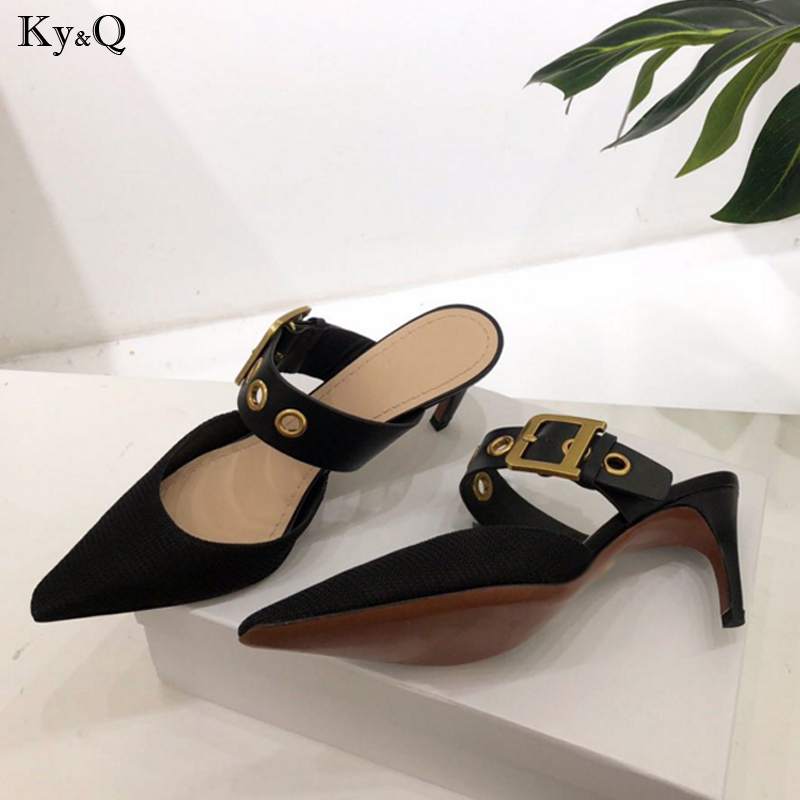 2019 summer new ladies fashion wear small pointed comfortable cat and metal buckle beach high heel casual wild slippers 5-8cm2019 summer new ladies fashion wear small pointed comfortable cat and metal buckle beach high heel casual wild slippers 5-8cm