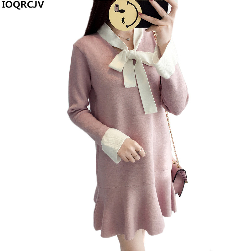 Women Pullover Sweater Dress 2018 Spring Autumn Fashion Stitching Bowknot Lace-up Collar Loose Student Short Knit Dress Female