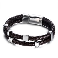 Men Vintage Leather Bracelet Wrap Band Double Braided Rope Stainless Steel Bangle