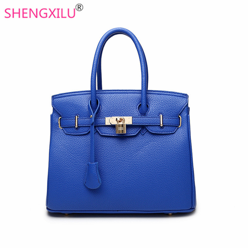 Shengxilu blue leather women handbags brand totes fashion female shoulder bag lock ladies crossbody bags big women bags front car bumper mesh grille for 2014 chery tiggo 5 car front mesh grill