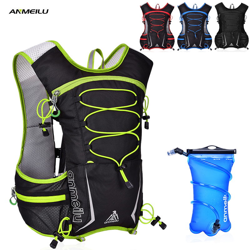 ANMEILU Camping Backpack 5L Waterproof Sports Camelback 2L Water Bag Marathon Running Climbing Cycling Hydration Backpack anmeilu 25l climbing bag sports rucksack waterproof cycling camping backpack rain cover sport travel bags 2l water bag camelback