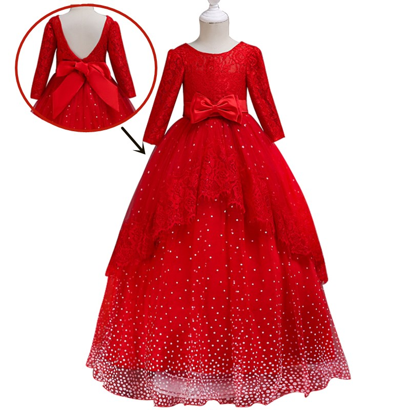 Kids Flower Girls Wedding Party Dresses For Girl Princess Dress Formal Lace Backless Children Christmas Dress For Girls Costume hot sale flower girls lace dresses for party and wedding lovely princess kids dress fashion children s clothing free shipping