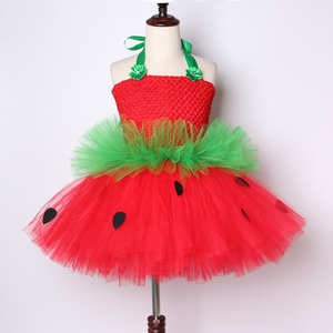 Image 5 - Cute Strawberry Tutu Dress Red Green Tulle Flowers Princess Girls Birthday Party Dress Children Kids Christmas Halloween Costume