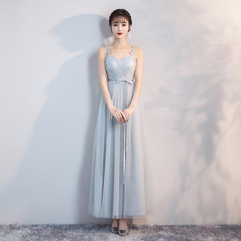 Bridesmaid Dresses Blue Grey Colour Dresses Sling Yarn Mesh Dress  Wedding Party Dress  Formal  Sleeveless Back Of Bandage