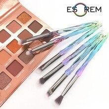 ESOREM 6pcs Beauty Brush Set Makeup Face Powder Travel Diamond Colored Glass New Rangement Pinceaux Maquillage Licorne