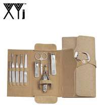 XYj 11 Pcs/Set Manicure Set High Quality Stainless Steel Professional Adult Care Essentials Nail Clippers Kit in Leather Case