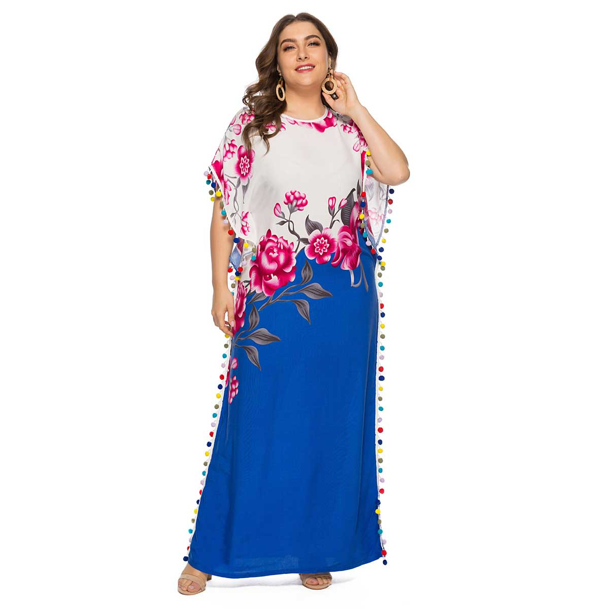 Summer Floral Printed Maxi Dress Oversized Bat Sleeve O neck Pompom Muslim Abaya Dubai Arabic Ramadan Robe Plus Size VKDR1530-in Islamic Clothing from Novelty & Special Use on Aliexpress.com | Alibaba Group