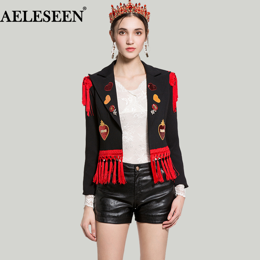 Здесь продается  Vintage Black Short Sequin Jacket Women 2018 New Fashion Long Sleeve Heart  Runway Embroidery Bead Tassel Luxury Jackets  Одежда и аксессуары