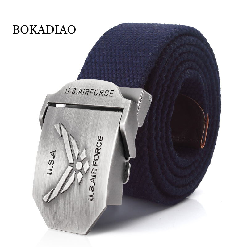 BOKADIAO Men&Women Military Canvas Belt Luxury U.S.AIR FORCE Metal Buckle Jeans Belt Army Tactical Belts For Men Waistband Strap