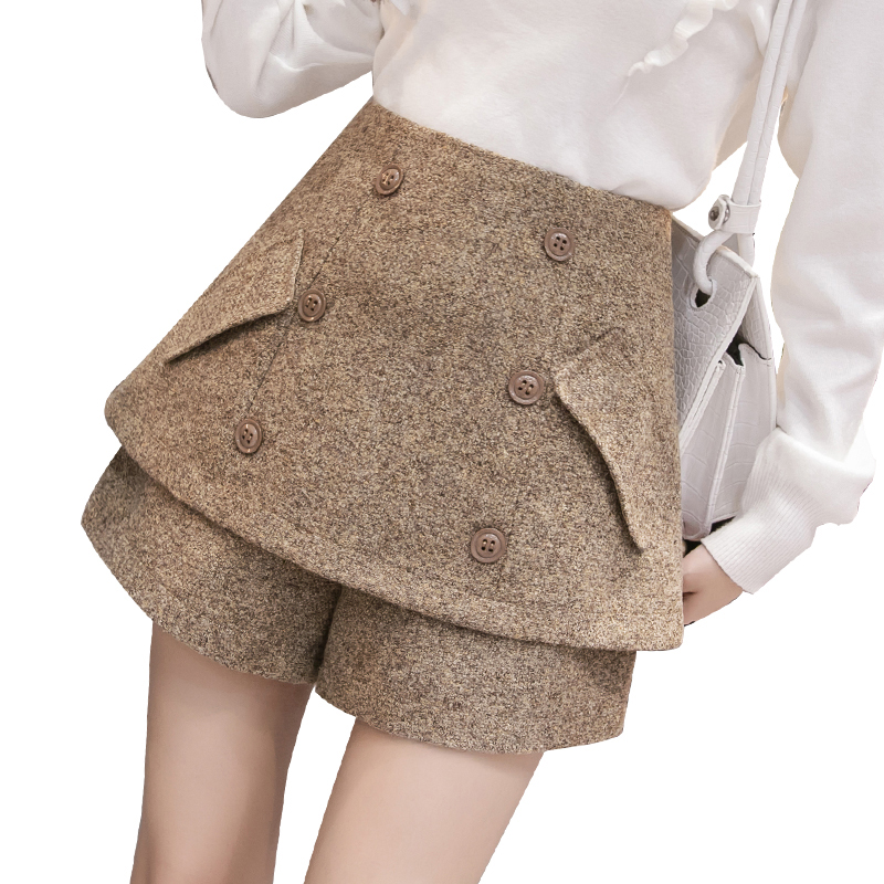 Fashion Wool Shorts Women High Waist Double Breasted Shorts Mini Skirts Tweed Slim Wide Leg Tutu A Line Skirt Woman Short Pants