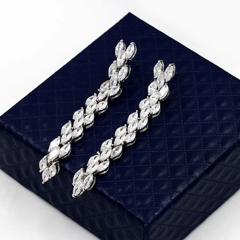 MIEG marka długi spadek kolczyki ślubne zestaw biżuterii ślubnej z musujące Marquise cyrkonia kryształowy