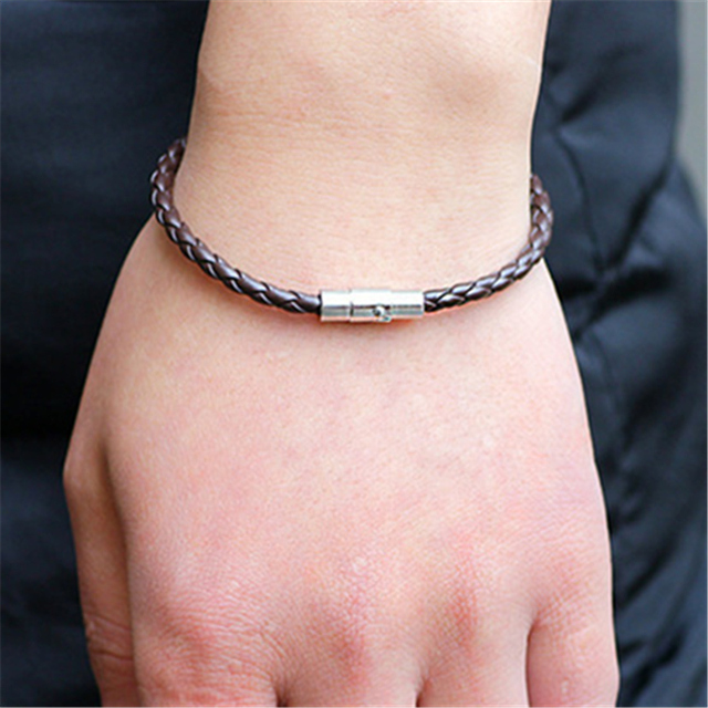 Handmade Boho Hippie Black White Dark Brown Macrame Leather Silver Color Easy Magnet Lock Closure Stackable Bracelets for Man 4