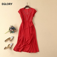 New Celebrity Inspired Women's Dress 2019 Summer Fashion Ladies V Neck Color Block Stitching Split Sexy Party Mermaid Dress OL