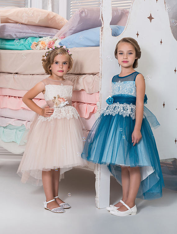2017 Custom Made Flower Girls Dress High Low Tulle Lace Girls Birthday Party Dress Any Size Free Shipping vintage lace panel high low dress