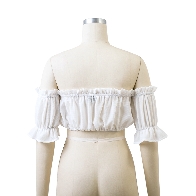HTB1a71em9BYBeNjy0Feq6znmFXaK - Backless Short sleeve white camisole shirt women Off shoulder tank top Ruching ruffle lace up tops JKP399