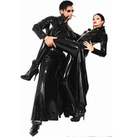 Gothic Wetlook PVC Faux Latex Reloaded Sexy Fantasy Halloween Costume Women Men Unisex Vinyl Matrix Trench Leather Catsuit Dress