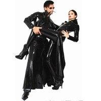 Gothic Wetlook PVC Faux Latex Reloaded Sexy Fantasy Halloween Costume Women Men Unisex Vinyl Matrix Trench Leather Catsuit Dress