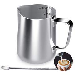 Dzbanek do mleka  350Ml ręczny zabielacz do kawy dzbanek do spieniania mleka dzbanek kubek ze znakiem pomiarowym i latte art Pen  mleko P