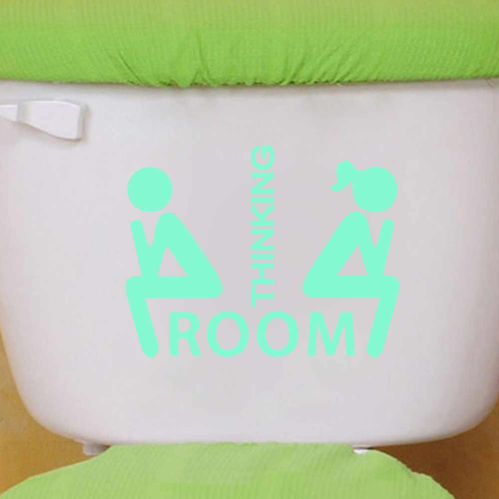 WC светящийся ПВХ стикер на стену съемный водонепроницаемый мышление Post картинки знак на дверь стикер для ванной, туалета съемные наклейки