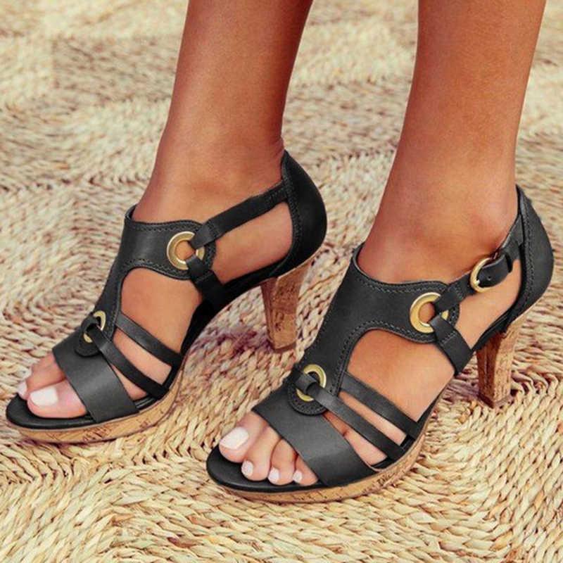 Kadın Pompaları Gladyatör Yüksek Yavru Topuk Deri Burnu açık Toka Kayışı Düğün Ayakkabı Platformu Bayanlar Sandal Sapato Feminino