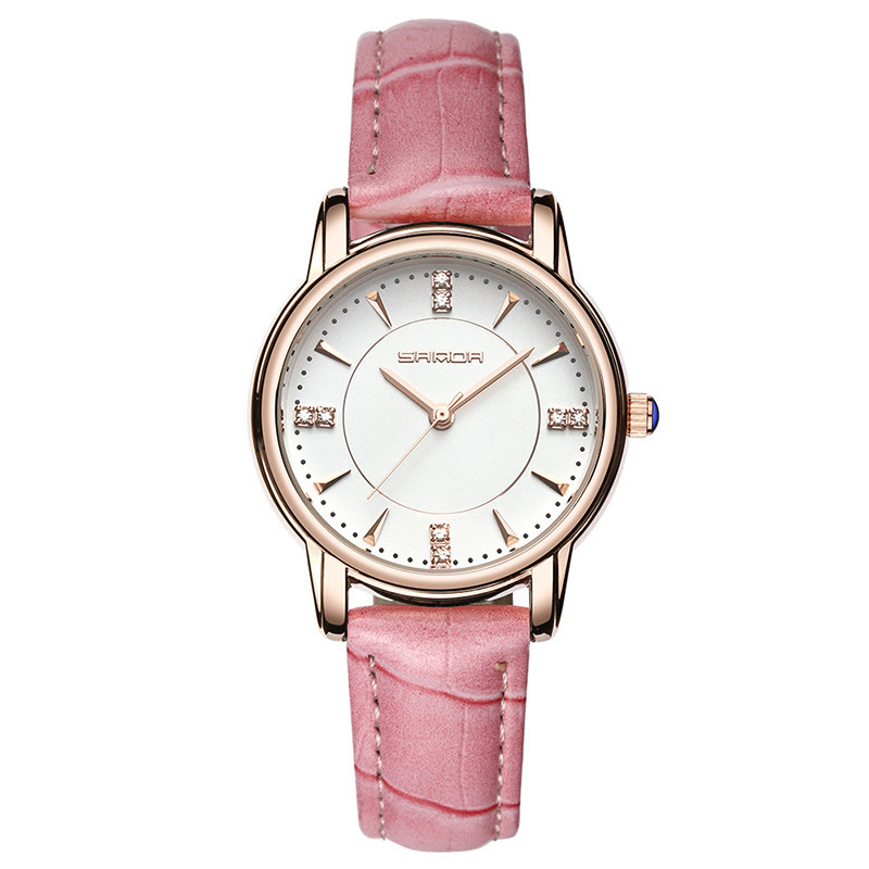 Pink Women Wrist Watch Ladies Jewelry Rhinestones Dress Rosefield Watches Pu Leather Relogio Feminino Female Formal Clock New