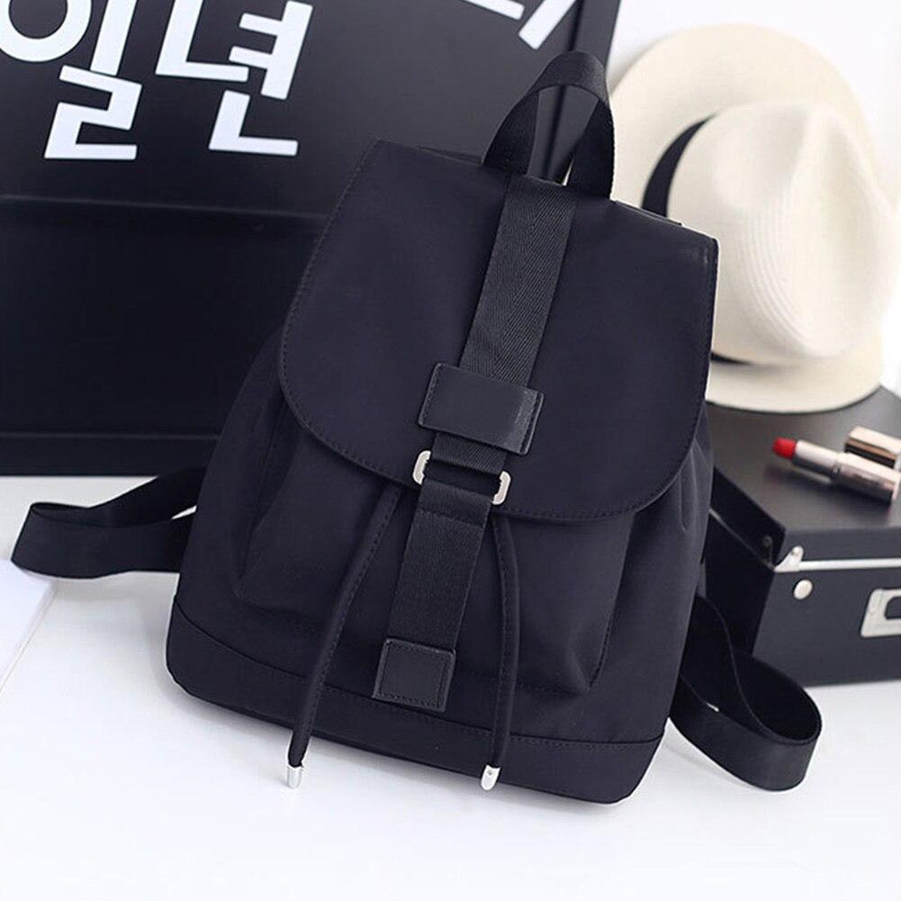 Student School Travel Large Laptop Drawstring Bag Black Nylon Backpacks AB@W3