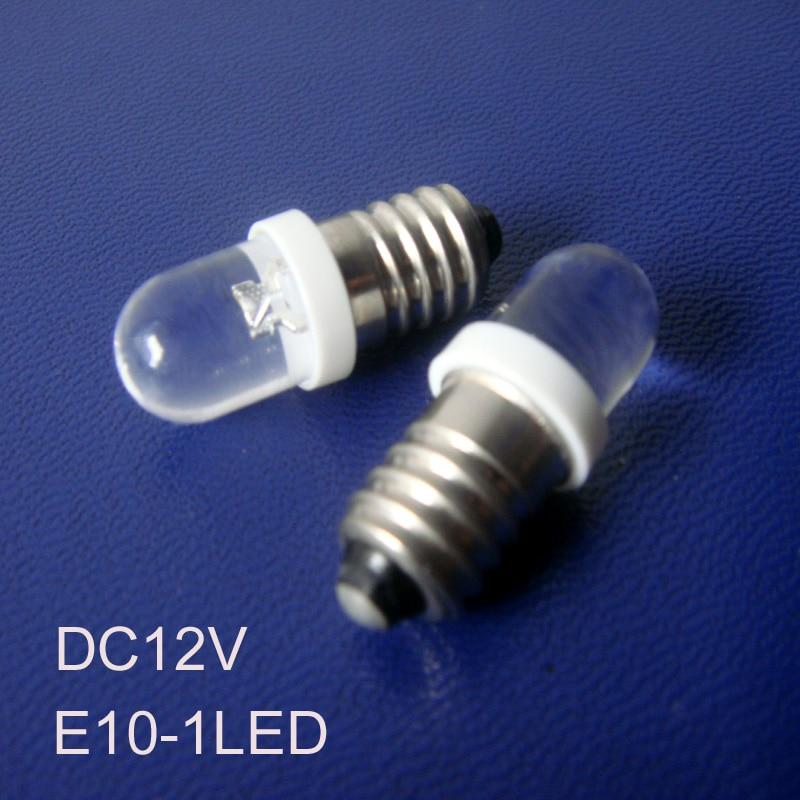 High quality 12V E10 led indicator Lights,Car E10 led instrument lights,LED E10 Pilot lamp,E10 led bulb free shipping 100pcs/lot