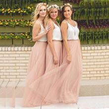 Simple Two Pieces A Line Bridesmaid Dress 2019 Scoop Wedding Guest Dress Tulle Formal Party Gowns Long Maid Of Honors Dresses