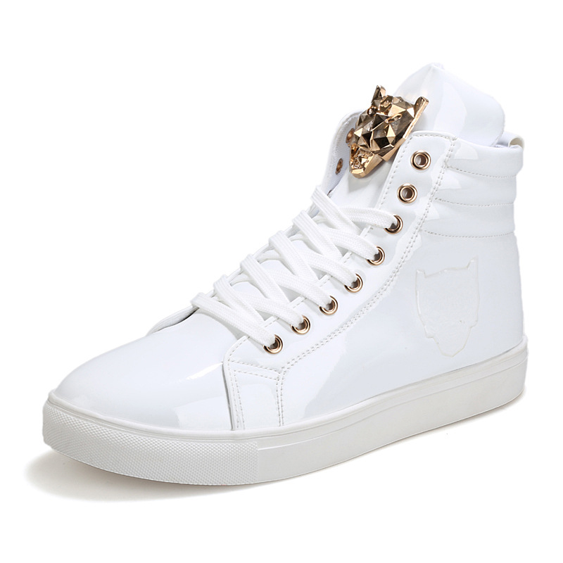 US $24.14 31% OFF|Ake Sia 2017 Spring And Autumn Famous Brand Men High Top Casual Metal Head Shoes Flat Fashion Men Zapatos Hombre shoes men in Men's