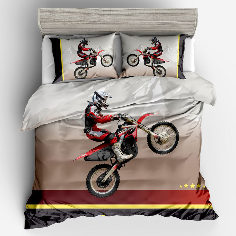 Comfortable Breathable Soft Motorcycle Rider 3D Luxury Duvet Cover Set Bedding Twin Full Queen King Size Quilt Cover Pillowcase